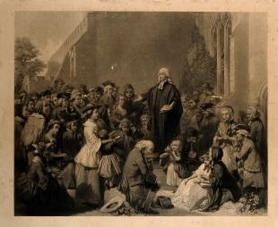 Social gospel preaching John_Wesley_preaching